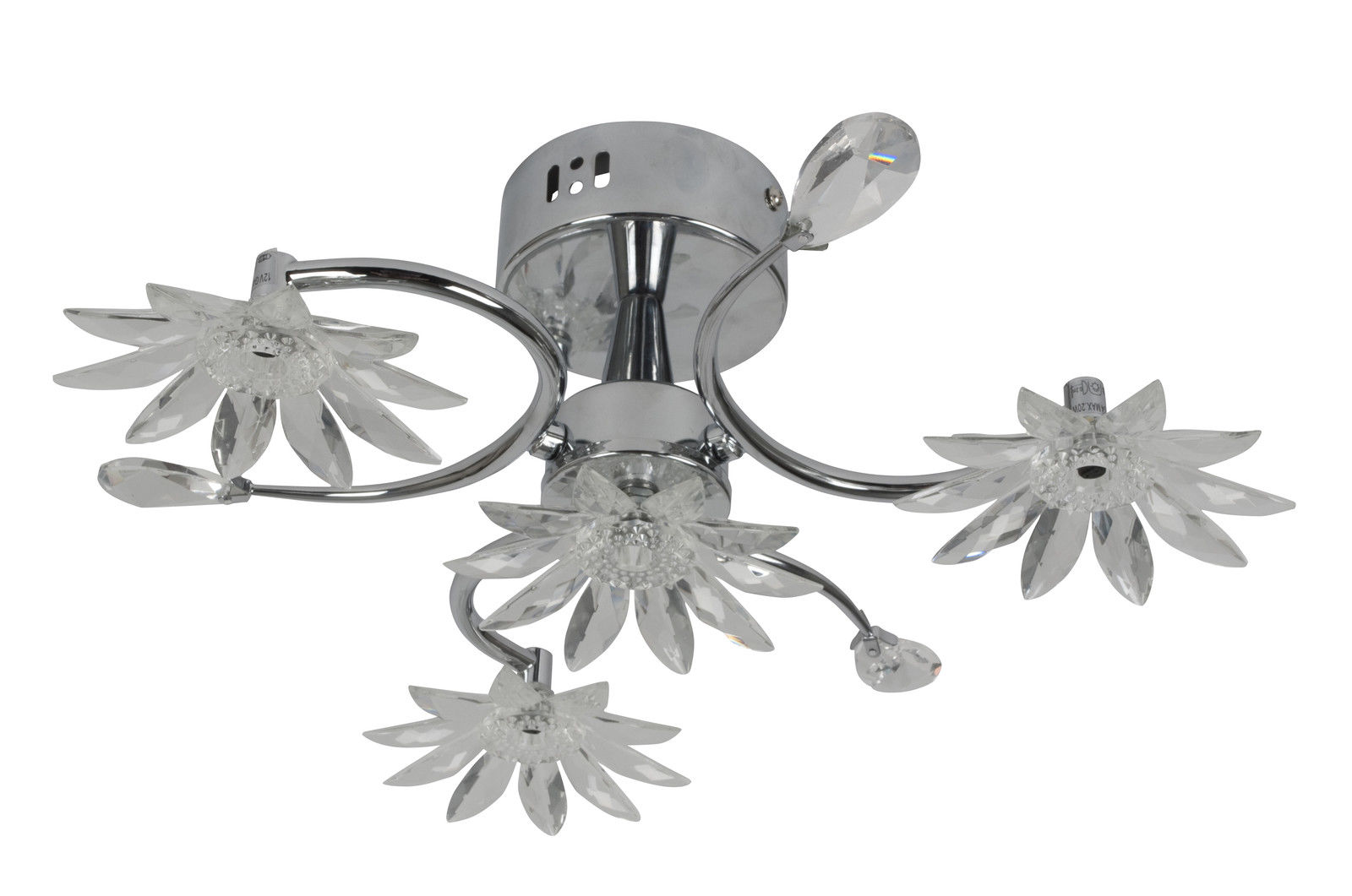 Kabalo Contemporary Chrome Semi-Flush Ceiling Light with Crystal Flowers with 4 x 20W!